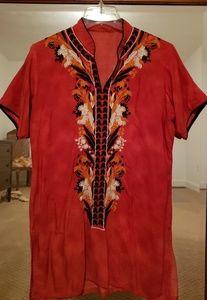 Orange embroidered tunic